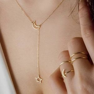 Star & Moon Delicate Drop Chain Necklace